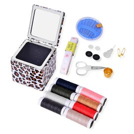 Sewing Kit - 1 Scissors, 8 Needles, 1 Needle Threader, 1 Measuring Tape, 4 Buttons, 2 Press Studs, 1 Sewing Case and 1 Thimble in a Leopard Pattern Box (Size 7.5X7.5X7.2 Cm)