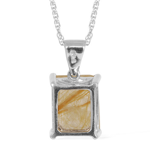 Brazilian Rutile Quartz (Oct) Pendant With Chain in Platinum Overlay Sterling Silver 3.000 Ct.