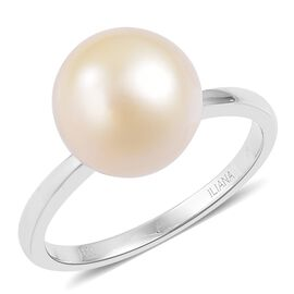 ILIANA 18K White Gold AAA South Sea Golden Pearl (Rnd 10.5-11mm) Ring