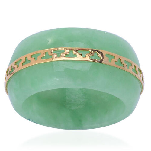 Green Jade Band Ring with Engraved Yellow Gold Overlay Sterling Silver 22.100 Ct.