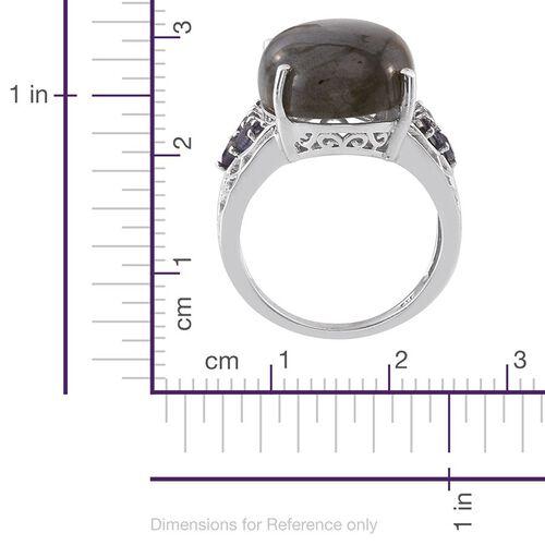 Labradorite (Ovl 14.25 Ct), Iolite Ring in Platinum Overlay Sterling Silver 14.850 Ct.