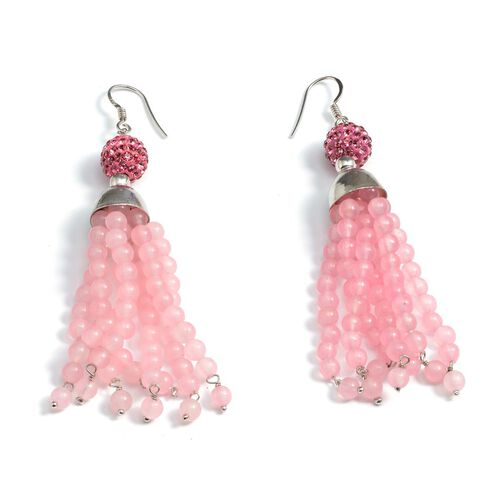 Jewels of India Pink Quartzite, Pink Austrian Crystal Hook Earrings in Platinum Overlay Sterling Silver 65.450 Ct.