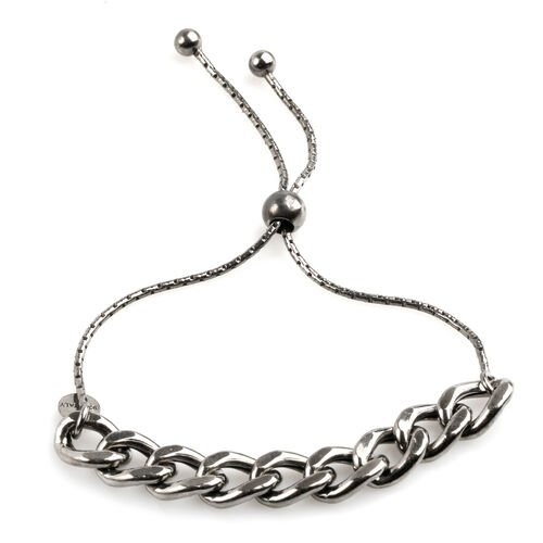JCK Vegas Collection Black Rhodium Plated Sterling Silver Adjustable Curb Bracelet (Size 6to7), Silver wt 6.10 Gms.