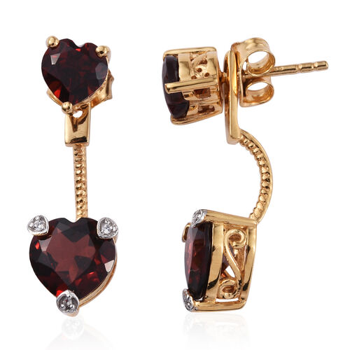 Mozambique Garnet (Hrt), Natural Cambodian Zircon Jacket Earrings (with Push Back) in Yellow Gold Plated Sterling Silver 4.689 Ct.