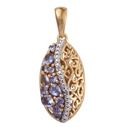 Tanzanite (Ovl), Diamond Pendant in 14K Gold Overlay Sterling Silver 0.910 Ct.