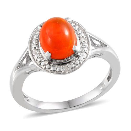 Orange Ethiopian Opal (Ovl 0.90 Ct), Diamond Ring in Platinum Overlay Sterling Silver 0.920 Ct.