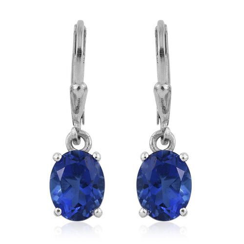 Ceylon Colour Quartz (Ovl) Lever Back Earrings in Platinum Overlay Sterling Silver 4.250 Ct.