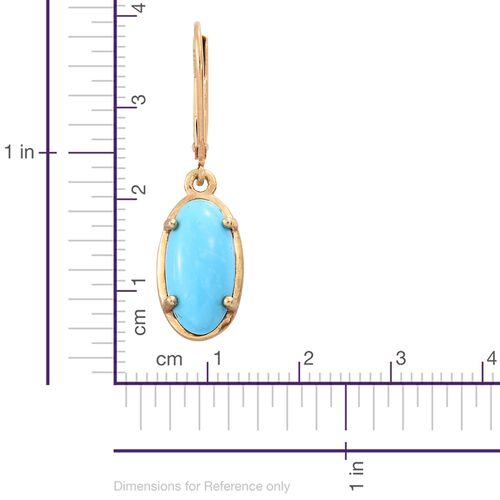 Arizona Sleeping Beauty Turquoise (Ovl) Lever Back Earrings in 14K Gold Overlay Sterling Silver 5.000 Ct.