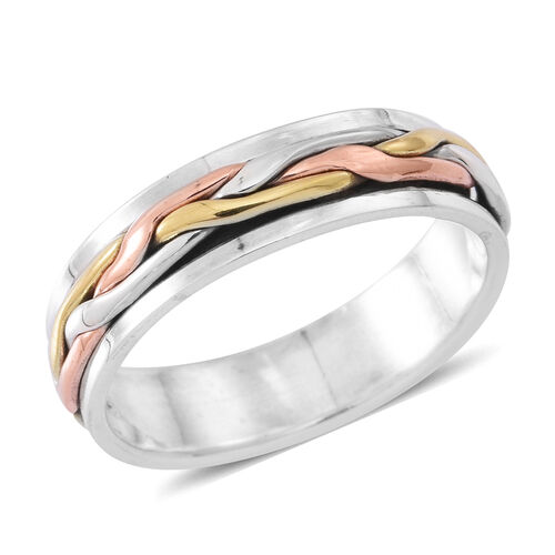 Designer Inspired - Tri Colour Sterling Silver Spinner Ring, Silver wt 5.16 Gms.