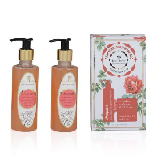 (Option 3) EXCLUSIVE TO TJC  Just Herbs Shatpatri Indian Rose Body Wash (200ml)
