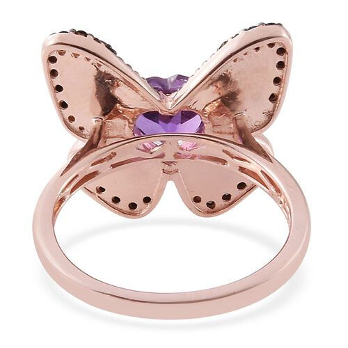 GP Amethyst (Hrt), Boi Ploi Black Spinel and Kanchanaburi Blue Sapphire Butterfly Ring in Rose Gold Overlay Sterling Silver 2.000 Ct.