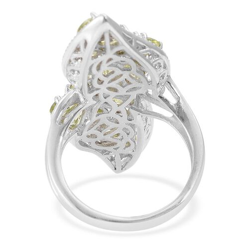 Designer Inspired-Hebei Peridot (Ovl) Leaves Ring in Platinum Overlay Sterling Silver 4.750 Ct. Silver wt 6.05 Gms.