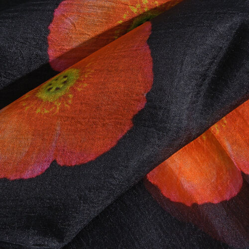 Limited Available TJC Poppy Design 100% Mulberry Silk Scarf - Black (Size 180x100 Cm)