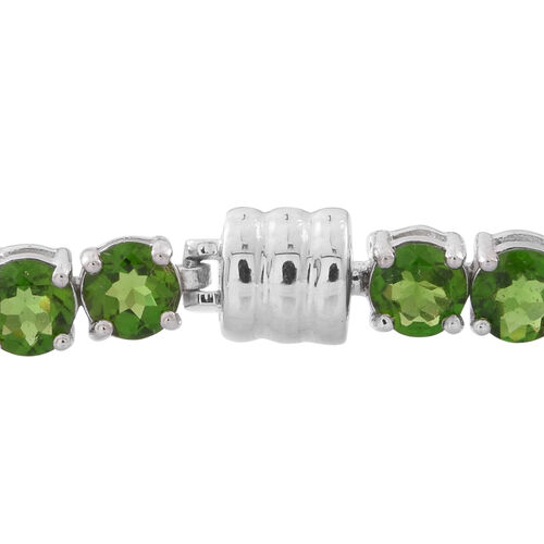 Russian Diopside (Rnd) Tennis Bracelet (Size 7.5) with Magnetic Clasp in Rhodium Plated Sterling Silver 11.750 Ct. Silver wt. 10.05 Gms.