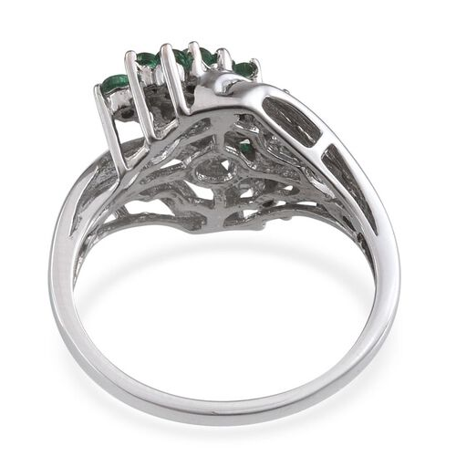 Kagem Zambian Emerald (Rnd) Ring in Platinum Overlay Sterling Silver 1.000 Ct.