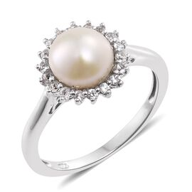 Fresh Water Pearl (Rnd 8mm), White Topaz Ring in Platinum Overlay Sterling Silver