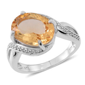 Citrine (Ovl) Solitaire Ring in Rhodium Plated Sterling Silver 5.000 Ct.