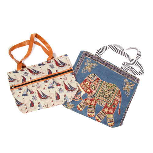 Set of 2 - Multi Colour Elephant Pattern Large Handbag (Size 43x39x10.5 Cm) and Ship Pattern Cream Colour Small Handbag with External Zipper Pocket (Size 43x33x11.5 Cm)