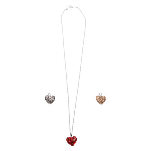 Close Out Deal Red, Yellow and Grey Austrian Crystal 3 Interchangeable Heart Pendant With One Chain in Sterling Silver
