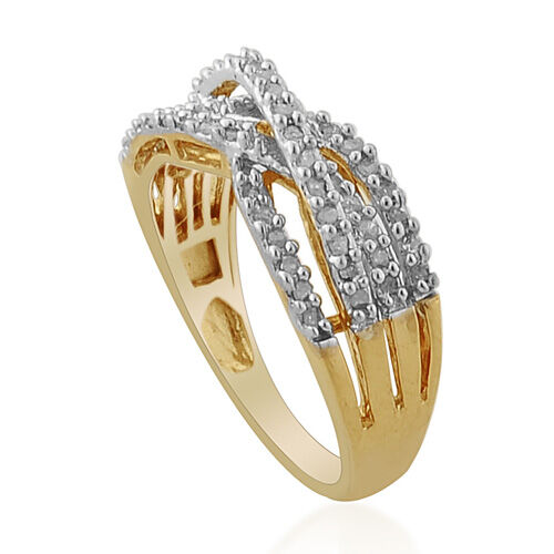 Diamond 14K Gold Overlay Sterling Silver Ring   0.200  Ct.