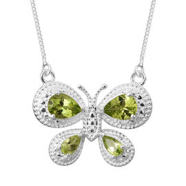 Super Auction- Hebei Peridot (Pear) Butterfly Necklace (Size 18) in Sterling Silver 2.000 Ct. Silver wt 4.19 Gms.