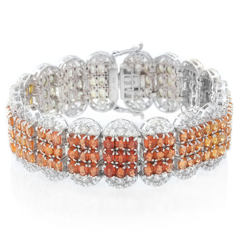 Red Sapphire (Ovl), Songea Green Sapphire, Madagascar Orange Sapphire and Chanthaburi Yellow Sapphire and Natural Combodian Zircon Bracelet (Size 7.5) in Rhodium Plated Sterling Silver 50.000 Ct.