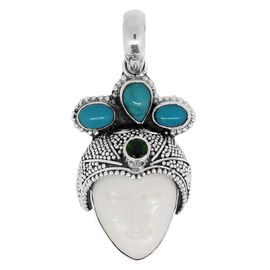 Princess Bali Collection OX Bone Carved Face (Ovl), Arizona Sleeping Beauty Turquoise and Russian Diopside Pendant in Sterling Silver 13.586 Ct.