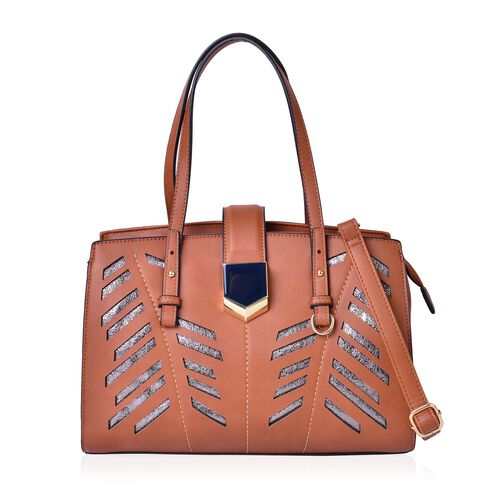 ItalianTan Metallic City Tote Bag with External Pocket and Adjustable Shoulder Strap (Size 34x24.5x13 Cm)