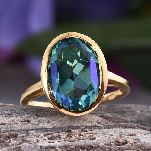 Peacock Quartz (Ovl) Solitaire Ring in 14K Gold Overlay Sterling Silver 6.500 Ct.
