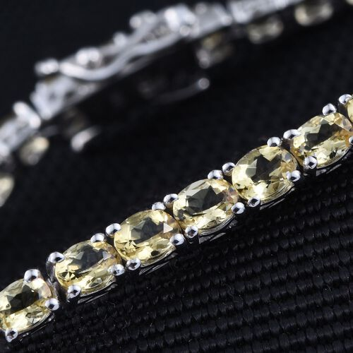 Tanzanian Scapolite (Ovl) Tennis Bracelet (Size 7) in Platinum Overlay Sterling Silver 7.000 Ct. Silver wt 7.20 Gms.