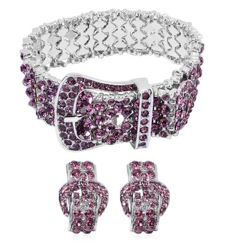 AAA Purple Austrian Crystal Adjustable Buckle Bracelet and Earrings in Silver Tone