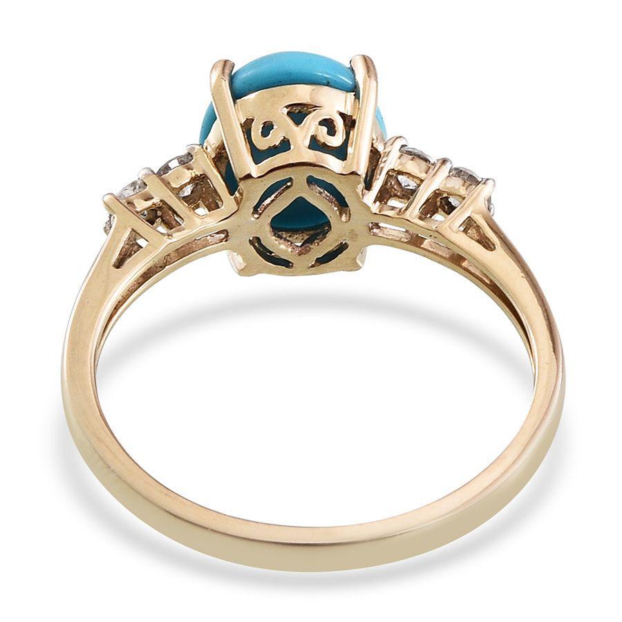 9K Y Gold Arizona Sleeping Beauty Turquoise Ovl 275 Ct Diamond