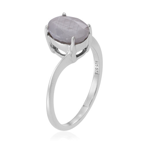 Natural Silver Sapphire (Ovl) Solitaire Ring in Rhodium Plated Sterling Silver 3.000 Ct.