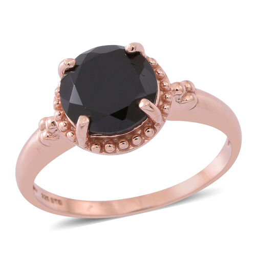 Boi Ploi Black Spinel (Rnd) Solitaire Ring in Rose Gold Overlay Sterling Silver 3.250 Ct.
