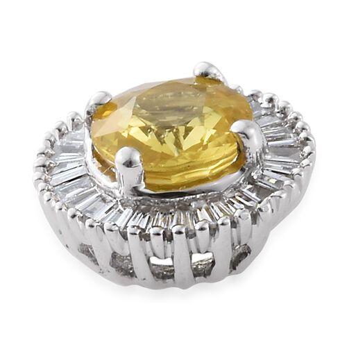 Limited Edition - ILIANA 18K W Gold AAA Chanthaburi Yellow Sapphire (Rnd 1.05 Ct), Diamond (SI - G/H) Pendant 1.250 Ct.