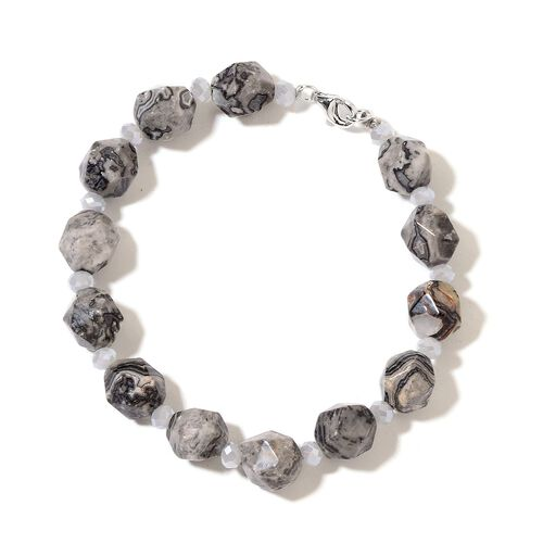 Black Lace Agate Bracelet (Size 7.5) in Rhodium Plated Sterling Silver 81.500 Ct.
