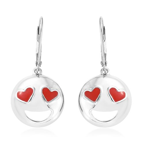 Platinum Overlay Sterling Silver Smiling Face with Red Heart-Eyes Smiley Earrings (with Lever Back)