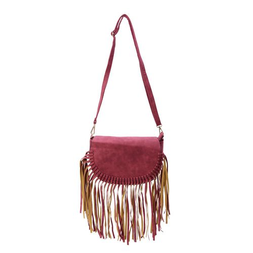 Red Colour Crossbody Bag with Tassels and Adjustable and Removable Shoulder Strap (Size 25.5x17.5x8.5 Cm)
