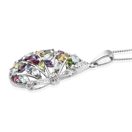 Designer Inspired- AAA Rhodolite Garnet (Mrq), Sky Blue Topaz, Multi Gemstone and Diamond Pendant with Chain in Platinum Overlay Sterling Silver 2.500 Ct. Silver wt 5.27 Gms.