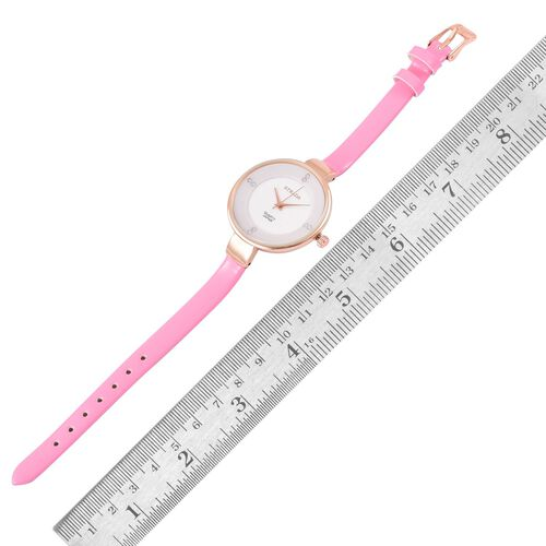 STRADA Japanese Movement White Dial with White Austrian Crystal Water Resistant Watch in Rose Gold Tone with Stainless Steel Back and Pink Colour Strap