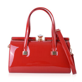 Red Colour Tote Bag with Shoulder Strap (Size 28x15x14 Cm)