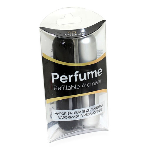 PRESSIT- Refill Perfume Spray- Black and Silver