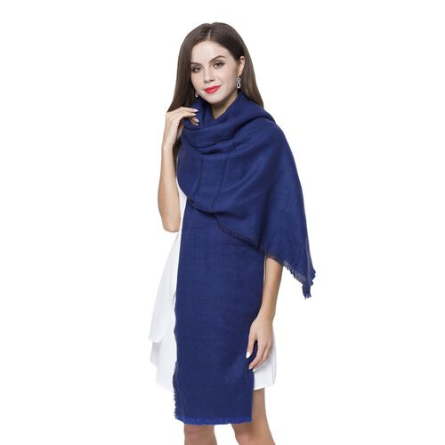 Close Out Deal-Navy Colour Scarf with Fringes (Size 210X70 Cm)