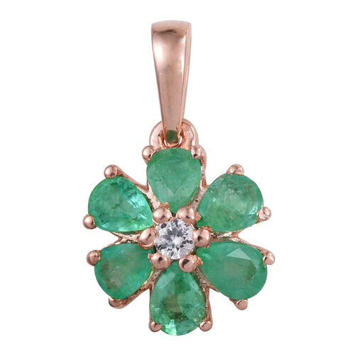 Zambian Emerald, Natural Cambodian Zircon 0.93 Ct Silver Flower Pendant in Rose Gold Overlay
