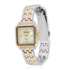 STRADA Japanese Movement MOP Dial with White Austrian Crystal Water Resistant Watch in Silver and Gold Tone with Stainless Steel Back