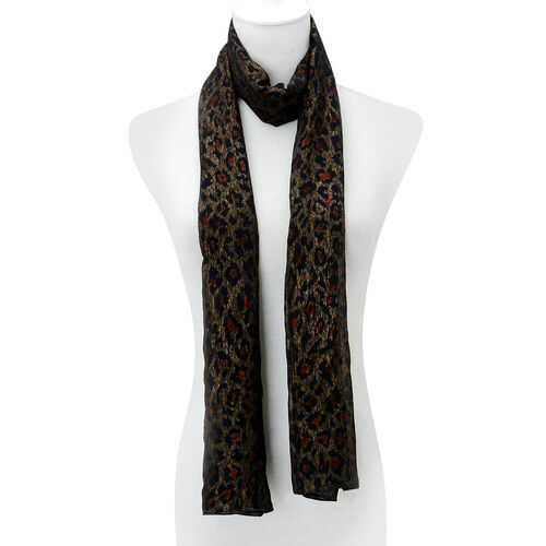 Leopard Pattern Black Colour Scarf (Size 160x70 Cm)