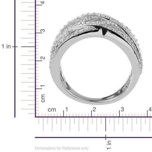 Diamond (Rnd) Criss Cross Ring in Platinum Overlay Sterling Silver 0.100 Ct.