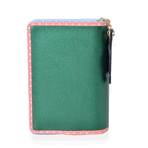 Cat Charm Metallic Green and Pink Colour Wallet with Multiple Card Slots (Size 13X9X3 Cm)