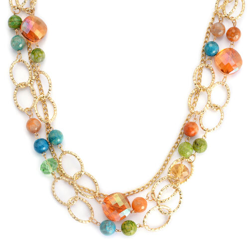 Multi Agate and Multi Colour Glass Necklace (Size 28) in Gold Tone