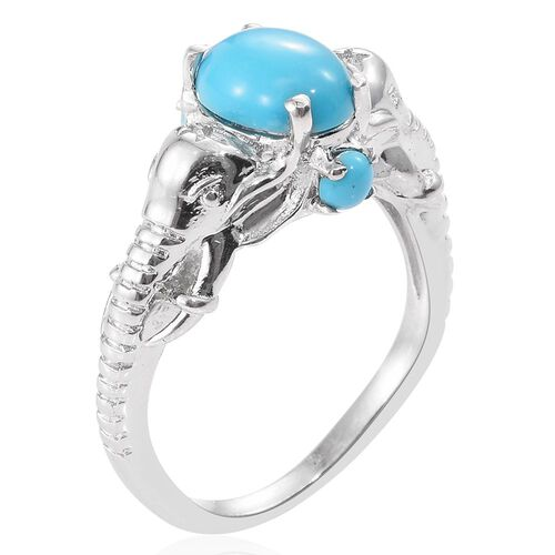 Arizona Sleeping Beauty Turquoise (Ovl 1.55 Ct) Elephant Head Ring in Platinum Overlay Sterling Silver 1.750 Ct.